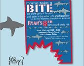 shark invitation printable or printed with free shipping boy's, party invitations