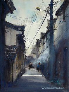 Shenao, China (2011) - watercolor en plein air by Keiko Tanabe