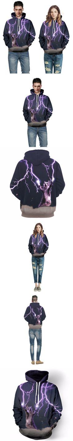 Hood by air 2017 arrived print 3D Galaxy Meow star people lightning cat Collect energy mens funny Hoodies Sweatshirt Men/Women