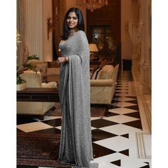 Grey georgette full sequence work saree Pakistani Fashion Casual, Casual Saree, Saree Blouse Patterns, Saree Blouse Designs, Bollywood Saree, Indian Bollywood, Indowestern Lehenga, Indian Bridesmaid Dresses, Casual Wear Women