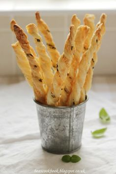 Puff Pastry Twists with basil and cheese