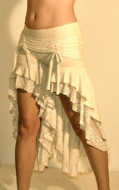 Skirted Deadwood Bloomers In Cream Lace and Bamboo by SacredEmpire