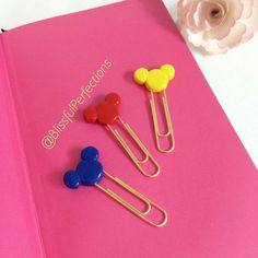 Jumbo Gold Mickey Mouse Paper Clips Primary by BlissfulPerfections