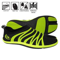 360 XT Ninja Split Toe Minimalist Shoes Black/Lime Reflective – All Weather Goods.com