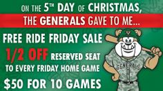 "FRIDAY ONLY! The Generals are offering 1/2 off a reserved seat to every ""Free Car Friday"" home game. 10 games for only $50! The Generals are giving away a car each Friday in 2014!    Visit https://www.facebook.com/jacksongenerals to learn more!"