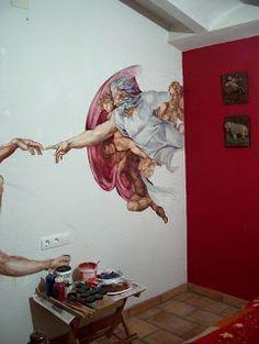 """Racò del muralista de Veerle Van Schoor: """"La creaciò""""Reproducción de """"la creación """" de Migu..."""