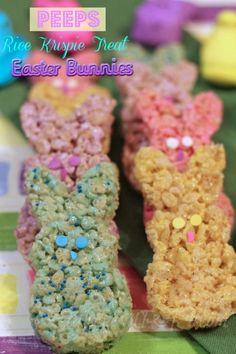 Fun & festive Peeps Easter Bunny Rice Krispie Treats! @Rice Krispies® #RiceKrispieTreats #Easter
