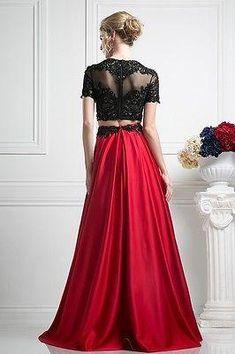 Elegant Designer 2 Piece Embellished Ball Gown Crop Top & skirt Prom Dress $700!