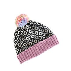 Knitted beanie with colorful pompom