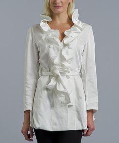 Look what I found on #zulily! White Ruffle Collar Silk-Blend Jacket #zulilyfinds