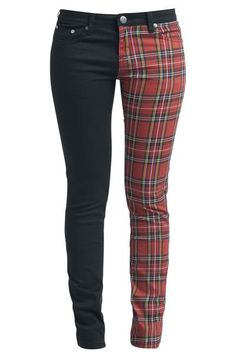 EMP Rock Rebel, I have these pants and I love them! A lot of people are like staring at me, but I like these pants so I don't care!) You can buy it on www. Jean Outfits, Cute Outfits, Fashion Outfits, Diy Clothes Refashion, Red Jeans, Tartan, Plaid, Jeans Style, Clothes For Women