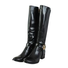 LADIES WOMENS LONG CALF BIKER BUCKLE ZIP KNEE SLOUCH RIDING SHOES BOOTS SIZE 3-8