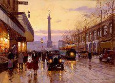 transpress nz: paintings of Paris streets featuring trams by Edouard Léon Cortès
