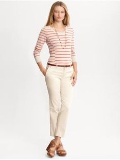 Banana Republic // Striped button-back sweater, Sateen crop, Round buckle leather belt