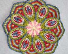 PDF... ***This listing is for the crochet pattern only. Finished mandala is not included!***  **This patterns is available in English and German language.**  This mandala is worked in overlay crochet technique. This technique is deeply rooted in cable and Aran crochet. Overlay crochet created a symmetric textured design.  Measurements: Approx. 51 cm (20 inches) round...finished...  I used following material for this mandala: Cotton yarn CATANIA from Schachenmayr and CAMILLA from Woll Butt…
