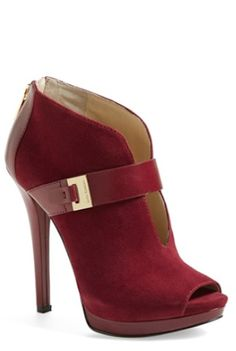 #red peep toe suede boots