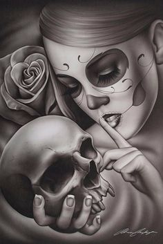 Hasta La Muerte by Spider Tattoo Art Print Day of the Dead Skull Sexy Woman Rose