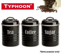 Typhoon Vintage Kitchen Storage Canister Tea / Coffee / Sugar - Black   Crazy Sales