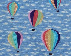 Up and Away Hot Air Balloon quilt handmade from 100% cotton for boys or girls