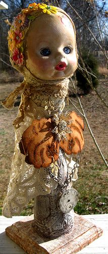 ALTERED ART DOLL, via Flickr. Old Dolls, Antique Dolls, Mixed Media Artwork, Junk Art, Creepy Dolls, Doll Parts, Assemblage Art, Sculpture, Doll Head
