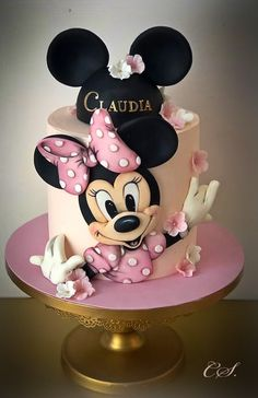 Minnie - cake by Cristina - CakesDecor Minni Mouse Cake, Minnie Mouse Cake Topper, Mickey And Minnie Cake, Bolo Mickey, Minnie Mouse Birthday Cakes, Mickey Cakes, Mickey Birthday, Funny Birthday Cakes, Cookie Cake Birthday