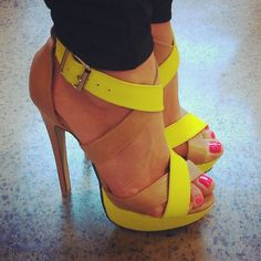 I just like the idea of yellow on a heel. It's different but still fancy.