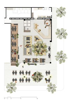 restaurant layout Bars and Restaurants: 50 Examples in Plan and Section,via Pigmento Experimenta Cafe Floor Plan, Restaurant Floor Plan, Restaurant Layout, Floor Plan Layout, Outdoor Restaurant, Cafe Restaurant, Coffee Shop Design, Cafe Design, Design Design