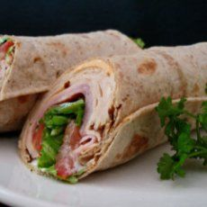 Healthy Ranch Ham.turkey and Spinach/kale Wraps add banana peppers, cucumbers, tomatoes, spread cream cheese and chives instead of ranch