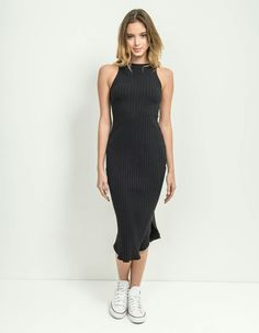 vestido canelado preto, lojatrês
