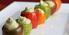 Heirloom tomatoes stuffed with smoked whitefish mousse - Chef Julia Greene