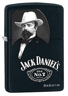 Zippo Custom Lighter: Jack Daniel's Portrait - Black Matte 78867 - ZippoCollectibles.com
