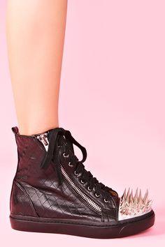 Adams Spike Sneaker in Black Leather