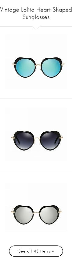 """""""Vintage Lolita Heart Shaped Sunglasses"""" by sunglassesoffers ❤ liked on Polyvore featuring accessories, eyewear, sunglasses, round mirrored sunglasses, mirror glasses, metal frame heart sunglasses, mirrored sunglasses, heart shaped glasses, round glasses and heart glasses"""