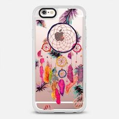 iPhone 6s Case Modern boho watercolor pink yellow dreamcatcher and feathers pattern hand paint transparent by Girly Trend