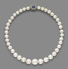 PROPERTY OF A NOBLE LADY: A NATURAL PEARL, SAPPHIRE AND DIAMOND NECKLACE. The single-strand composed of 39 natural pearls, to the oval-cut sapphire and rose-cut diamond double cluster clasp, mounted in platinum and gold.