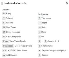 Keyboard shortcuts in TweetDeck