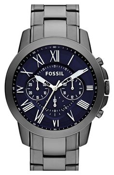 Fossil 'Grant' Chronograph Bracelet Watch, 44mm available at #Nordstrom even though he isnt a fan of metallic