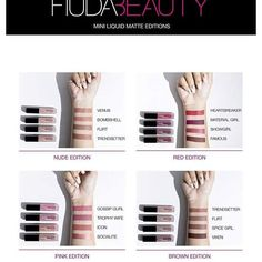 Renowned for her perfect pout, Huda Kattan's four variations of Liquid Matte Minis unite super-cute, complementary shades of her best-loved, stay-put liquid formula, to wear alone or mix and match to achieve an array of ombré an Huda Beauty Liquid Matte, Huda Beauty Lipstick, Best Liquid Lipstick, Huda Beauty Rose Gold, Huda Beauty Makeup, Brown Lipstick, Lipstick Ombre, Matte Lipstick, Lipstick Swatches