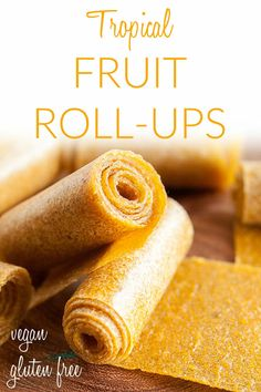Tropical Fruit Roll-Ups (raw, vegan, gluten free, suagr free) – This homemade fruit leather recipe is an easy healthy snack. Made in a dehydrator. Healthy Vegan Snacks, Gluten Free Snacks, Raw Vegan Recipes, Vegan Dessert Recipes, Fruit Recipes, Baby Food Recipes, Whole Food Recipes, Sugar Free Kids Snacks, Snack Recipes