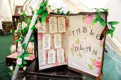 Romantic Rustic Lakeside Wedding Suitcase Table Plan http://www.richardjones-photography.com/