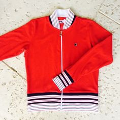 A personal favorite from my Etsy shop https://www.etsy.com/listing/220730669/red-velour-fila-retro-track-jacket-xl
