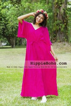 - Size Hippie Boho Caftan Hot Pink Wide Sleeves Maxi Dresses Women's Plus Size Clothing Bohemian Long DressProduct description Material : Gauze Cotton Length : Lining : Lining included. Size : and Color : More than 30 colors available. Maxi Dress With Sleeves, Short Sleeve Dresses, Maxi Dresses, Gauze Dress, Simple Medieval Dress, Bohemian Style Clothing, Gypsy Clothing, Gauze Clothing, Boho Outfits