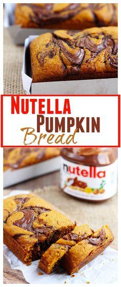 Nutella Swirled Pumpkin Bread Clearly I wish it was fall.