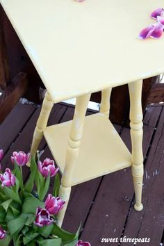 General Finishes Buttermilk Yellow milk paint - distressed - Refurbished by Sweet Threepeats www.facebook.com/sweetthreepeats