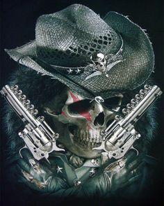 Cowboy Skull Handguns T-shirt Cowboy Tattoos, Biker Tattoos, Tattoos Skull, Sleeve Tattoos, Foot Tattoos, Tatoos, Tattoo Fairy, Grim Reaper Art, Western Saloon