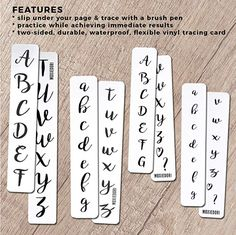 MoxieDori Brush Lettering Tracing Strips - Bundle of Uppercase Cursive, Lowercase Cursive, Mini Uppercase Cursive and Mini Lowercase Cursive Lettering Guide, Creative Lettering, Brush Lettering, Hand Lettering, Bullet Journal Gifts, December Bullet Journal, Bullet Journal Spread, Bullet Journal Inspiration, Journal Ideas