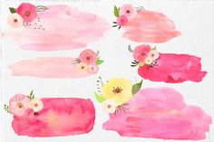 Watercolor Floral Stamps by Lizamperini on Creative Market