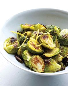 Healthy Thanksgiving Recipes | Martha Stewart - Spiced, roasted, all about lemon, and super easy, these Brussels are perfect for Thanksgiving, and just right for pretty much any dinner.