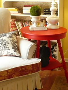 I like the combination of using drop cloth and toile for this chair!