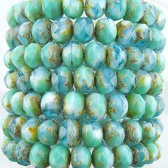8x6mm Faceted Opaque Green Turquoise & Transparent Aquamarine Picasso Firepolish Czech Glass Rondelle Beads - Qty 25 (BS428)